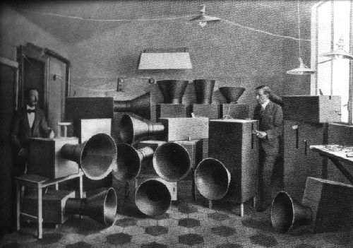 The 'Intonarumori' ('Noise Machines'), built by Italian Futurist Luigi Russolo circa 1920s