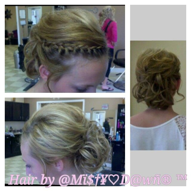 Updo with braid and low bun