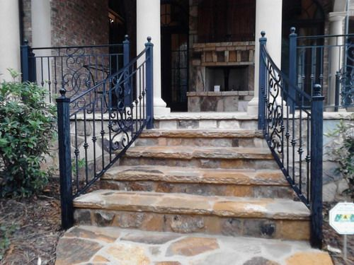 Exterior Wrought Iron Handrails Railing Mediterranean House Exterior Decor  Ideas