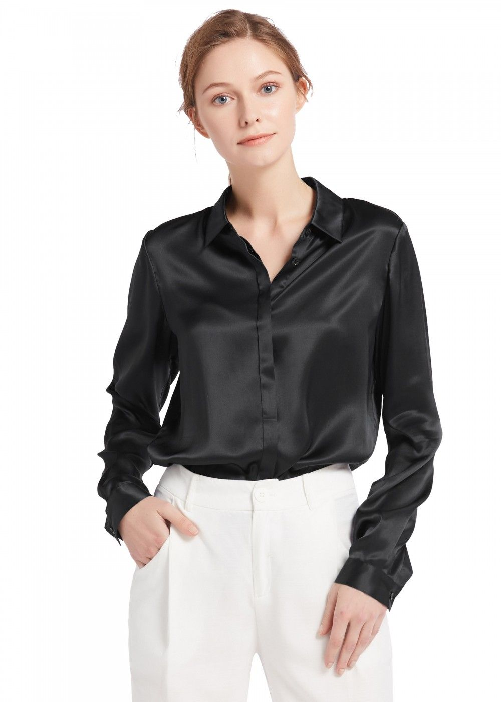 a8500bdce8118f Basic Concealed Placket Silk Shirts in 2019   Want   Shirts, Silk ...