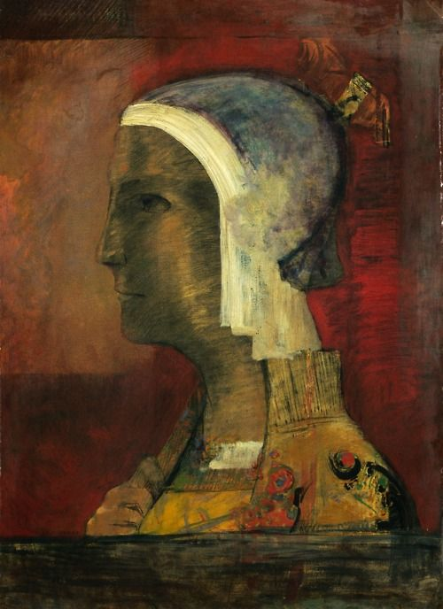 Symbolic Head: 1890 by Odilon Redon - oil on paper mounted on canvas (Cleveland Museum of Art, Cleveland, OH)