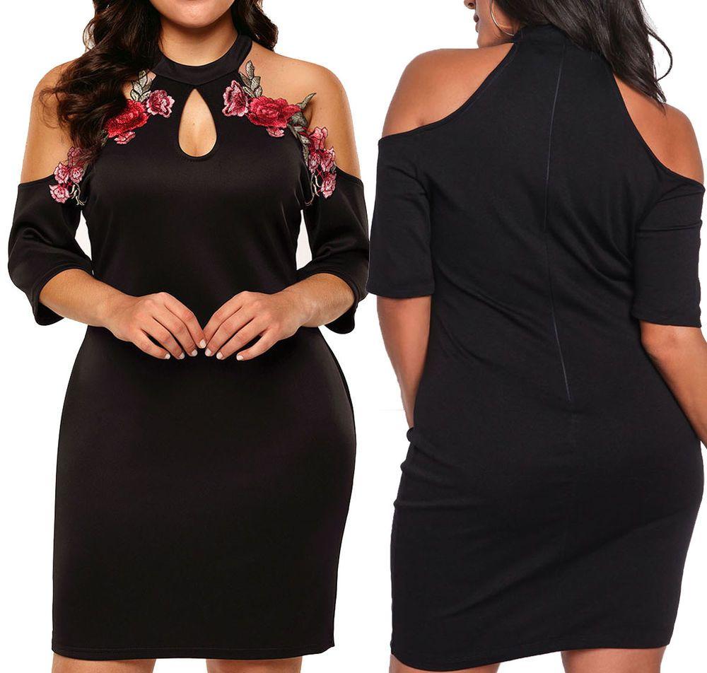 Xl sexy womens black cocktail plus size mini dress short sleeve