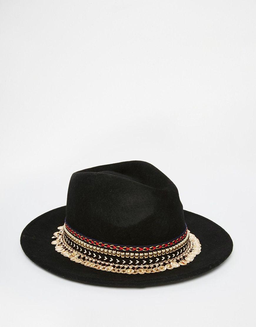 Imagen 3 de Sombrero Panamá de fieltro con detalle azteca y cadena de ASOS 189eea230e1
