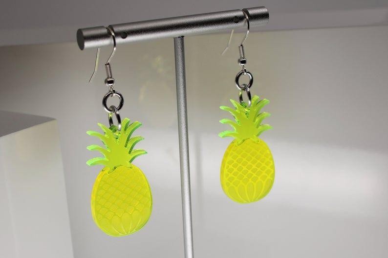 Cute Fruit Earrings Cute Pineapple Earring Food Earrings Fruit Earrings Pineapple Earrings