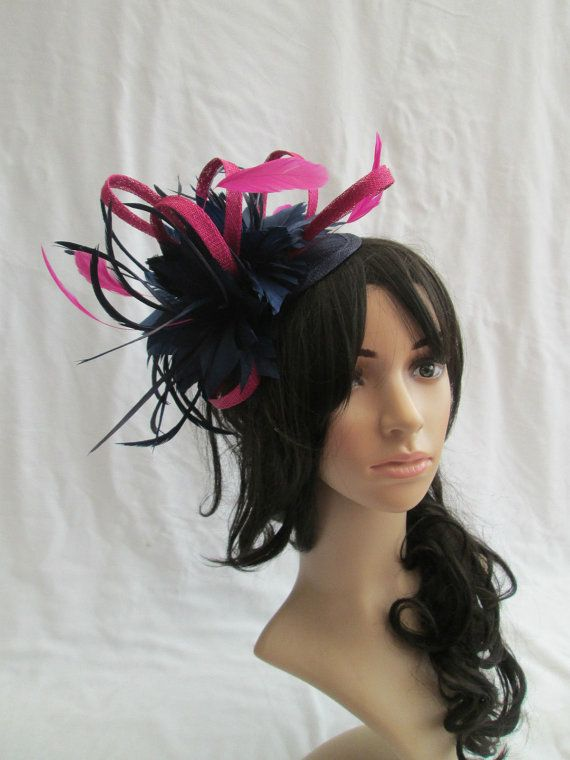Navy Blue Fascinator..Stunning Navy Blue   by SpecialDayfascinator Navy    Pink Feather Fascinator on a headband £29.99 click here for more details e81ba13badf