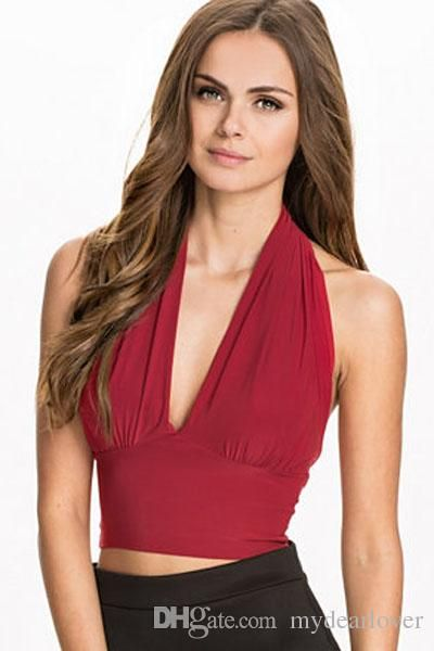 026664d02372db Apricot Red Black Women Sexy Milk Backless Halter Low Cut Bustier ...
