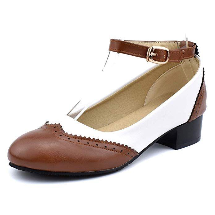 Low Heel Pumps Saddle Oxford Shoes