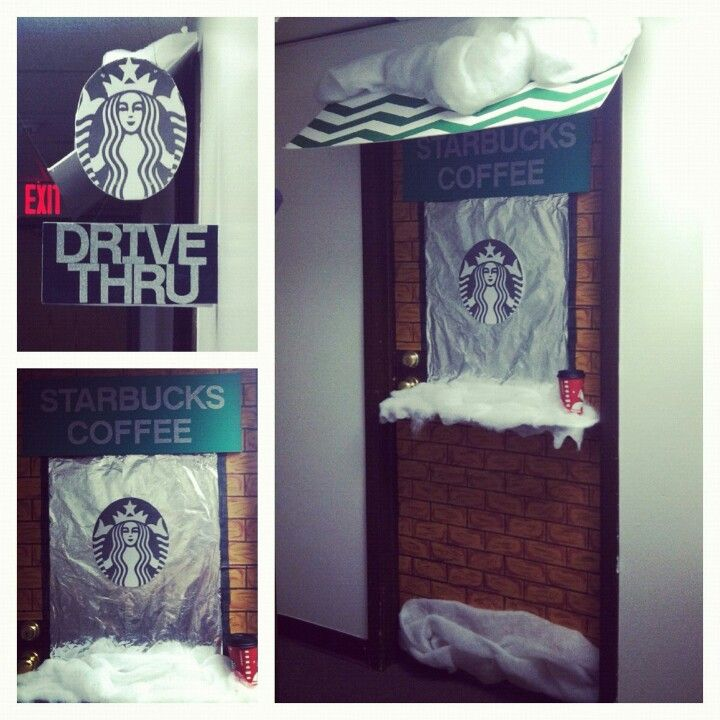 Door Decorations Christmas Contest: Starbucks Drive-thru Window For Our Dorm Door Decorating