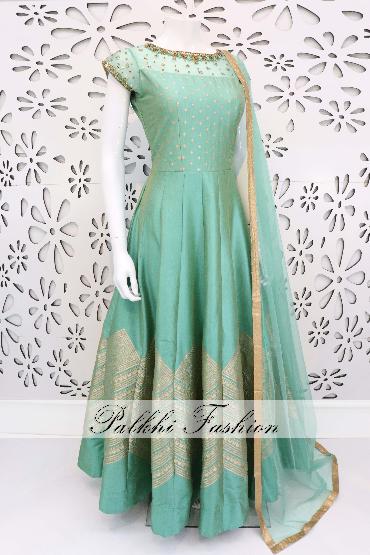 ddb1fd5572 PalkhiFashion Exclusive Full Flair Pista green Elegant Hand Work Silk Outfit