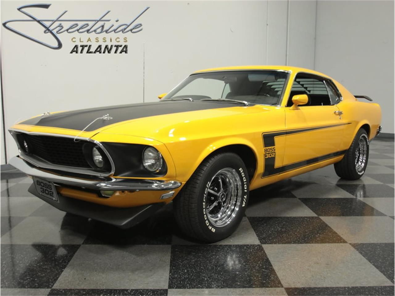 1969 Ford Boss 302 Mustang Yellow With Black Stripes Ford Mustang Boss Mustang Boss Ford Mustang Car