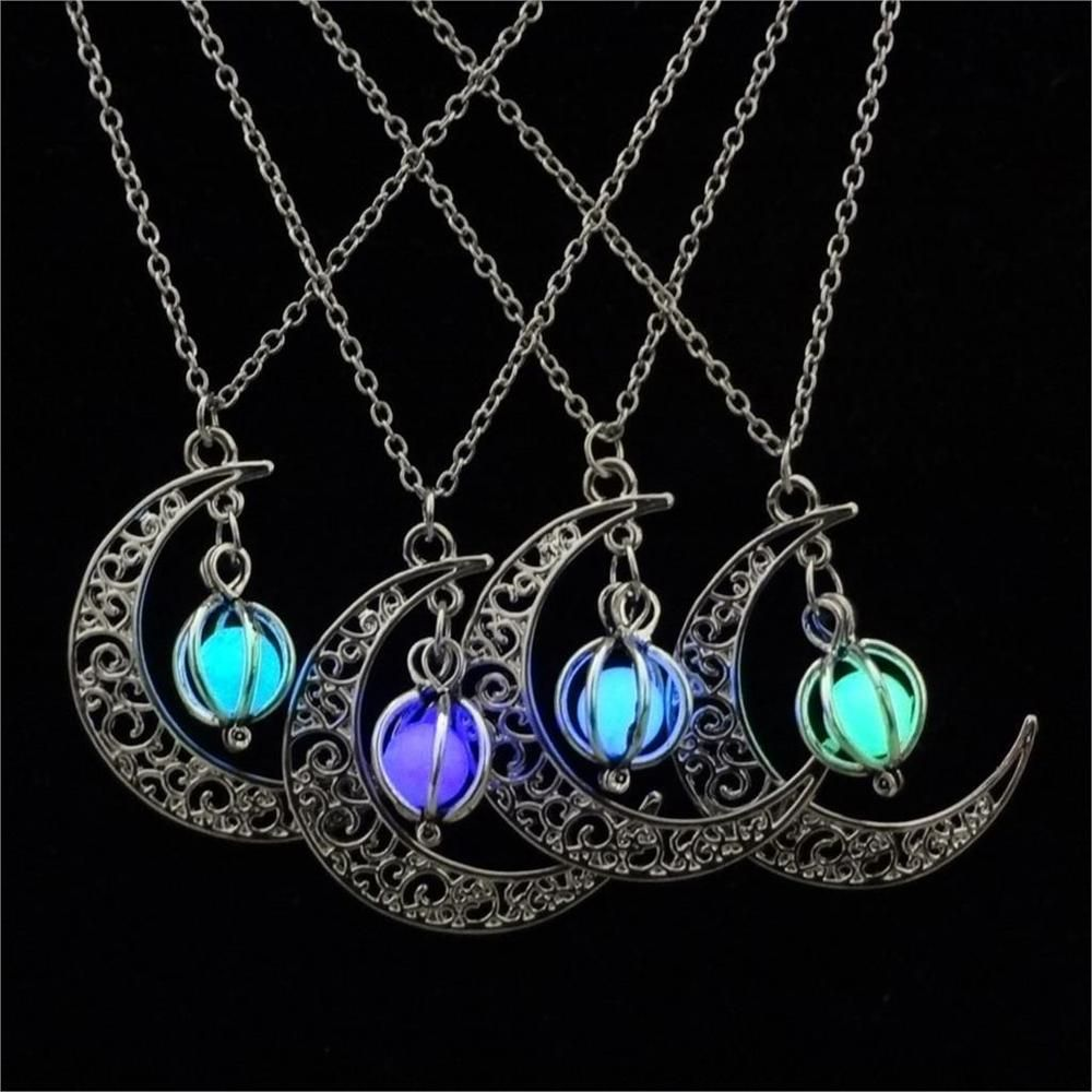 Unique Style Steampunk Fire Glow in the Dark Pendant Necklace Halloween Gifts