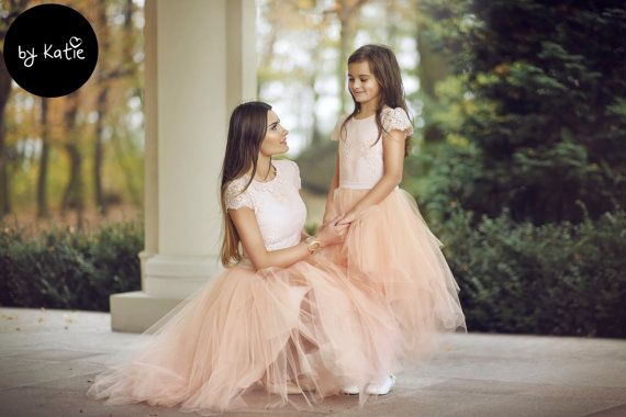 UK Family Matching Clothes Women Kids Girls Lace Wedding Party Prom Dress Baby