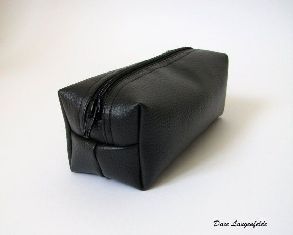 A cool black vegan leather Pencil case or Make-up bag. Zippered pouch for school or artwork. This boxy purse will organize your things.