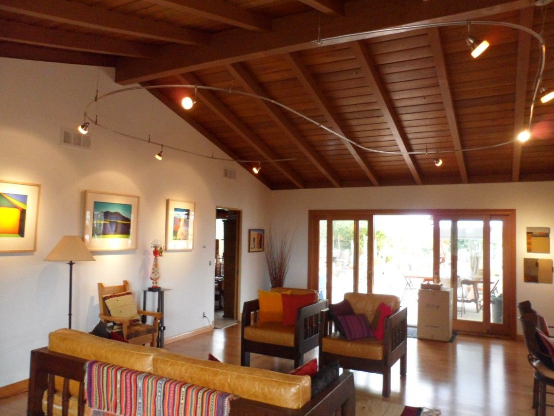 Living Room Exposed Ceiling Beams With Spotlights Track