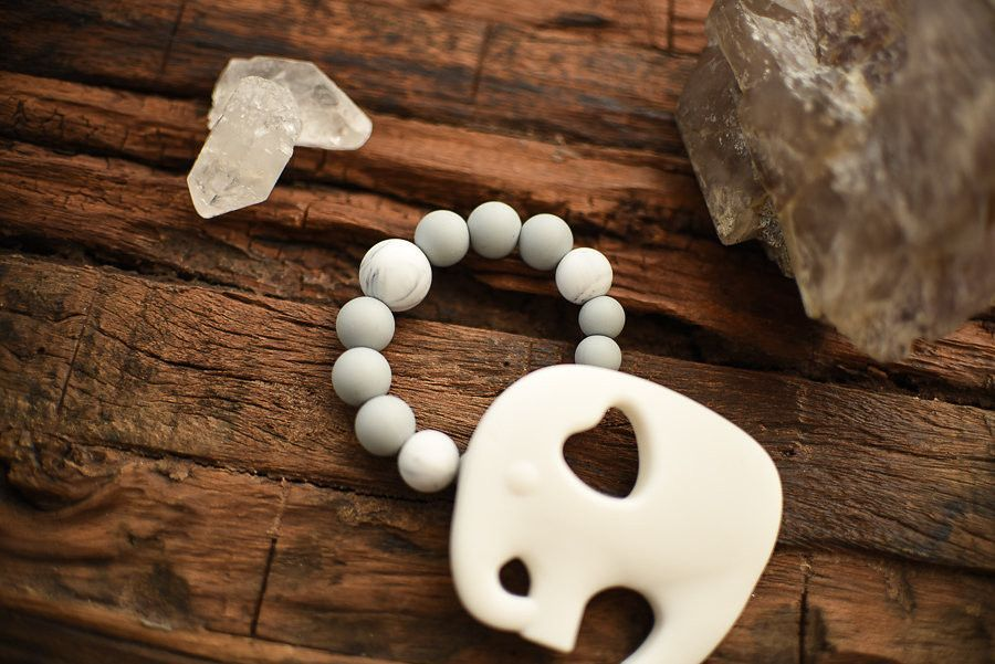 Stone and Cloud Elephant Teether