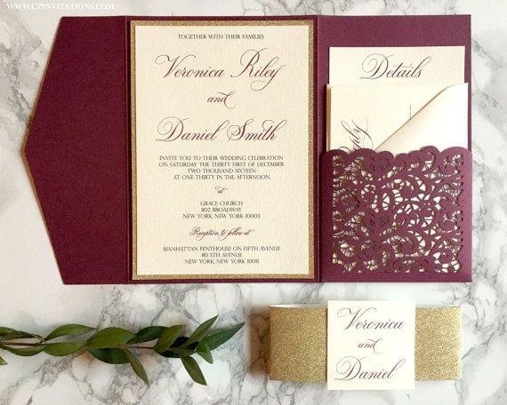 Burgundy And Gold Wedding Invitations: Burgundy Laser Cut Pocket Wedding Invitation, Burgundy And