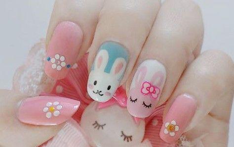 Diy Cute Rabbit Nail Art Bunny Nails Easter Nail Designs Diy