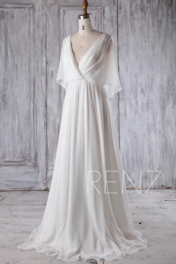 Beach Wedding Dress White Chiffon Evening Dress Long Sleeve Gown Simple Wedding Dresses Bridal Dress Floor Length (H339A)