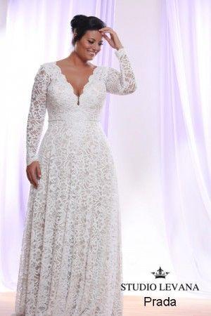 Prada studio levana plus size wedding dress long sleeve lace curvy wedding gowns white collection wedding gowns junglespirit Choice Image