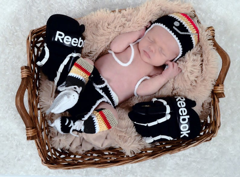 Photo of Hockey Baby Boy Clothes, Crochet Hockey Outfit Knit Hockey Skates, Baby Boy Hats, Newborn Hockey Gifts, Baby Hockey Hat, Black Gold Hockey
