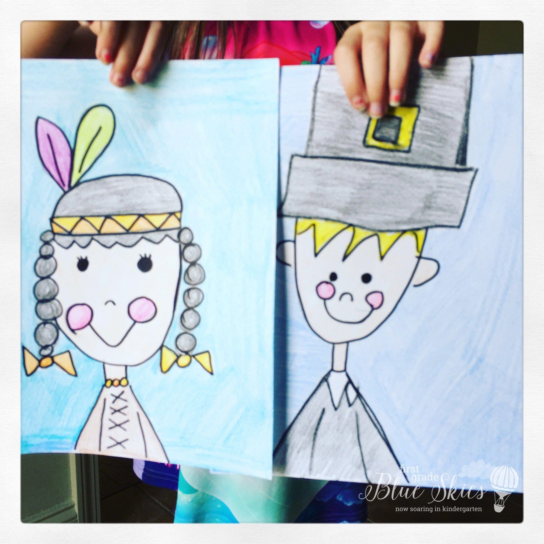 pilgrim native american directed drawings | Kindergarten | Pinterest ...