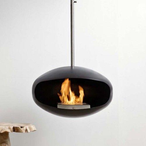 Cocoon Fires Aeris Hanging Bio Fuel Fireplace Black