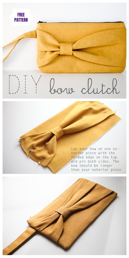 DIY Bow Clutch Free Sew Patterns & Tutorials #bagsewingpatterns