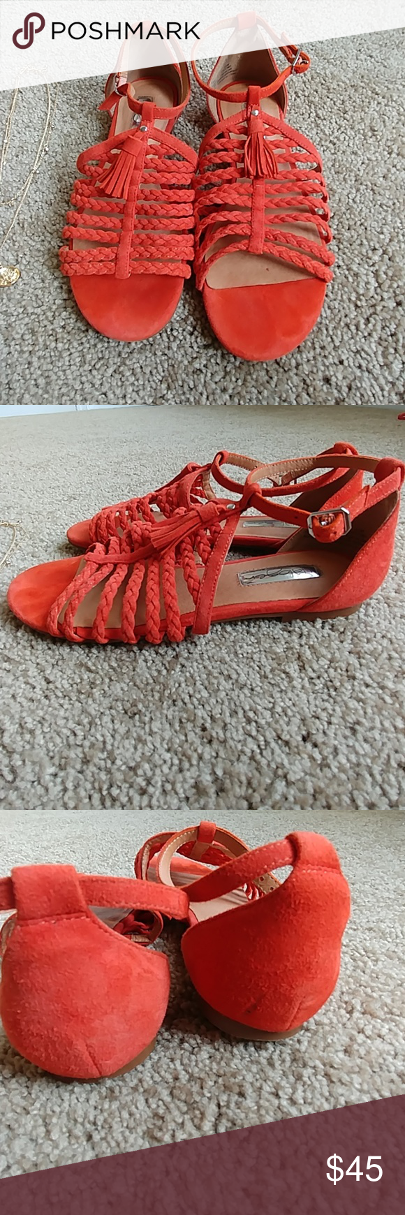 16ae3a716718 Orange Jolie Halogen sandals Orange suede material. Cute tassel detail and  braided cage straps. Hardly worn and in excellent condition. True to size.