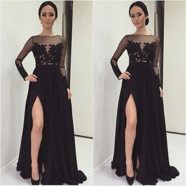Winter Formal 2015 Elegant Long Sleeve Evening Dresses Applique Lace Split Sexy Wedding Guest Party Gowns