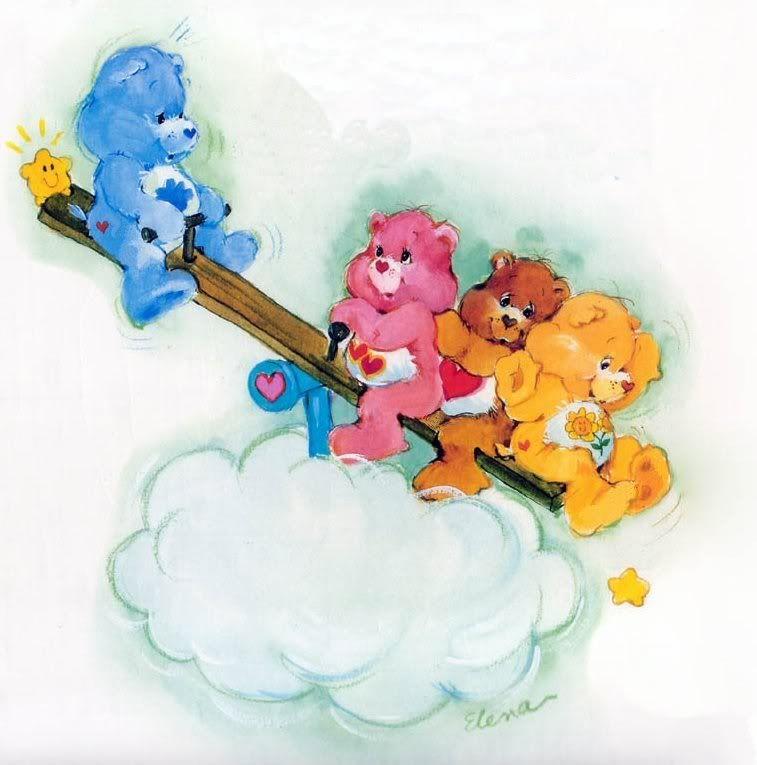Care Bears: Grumpy, Love-a-Lot, Tenderheart & Funshine Bear on a See-Saw