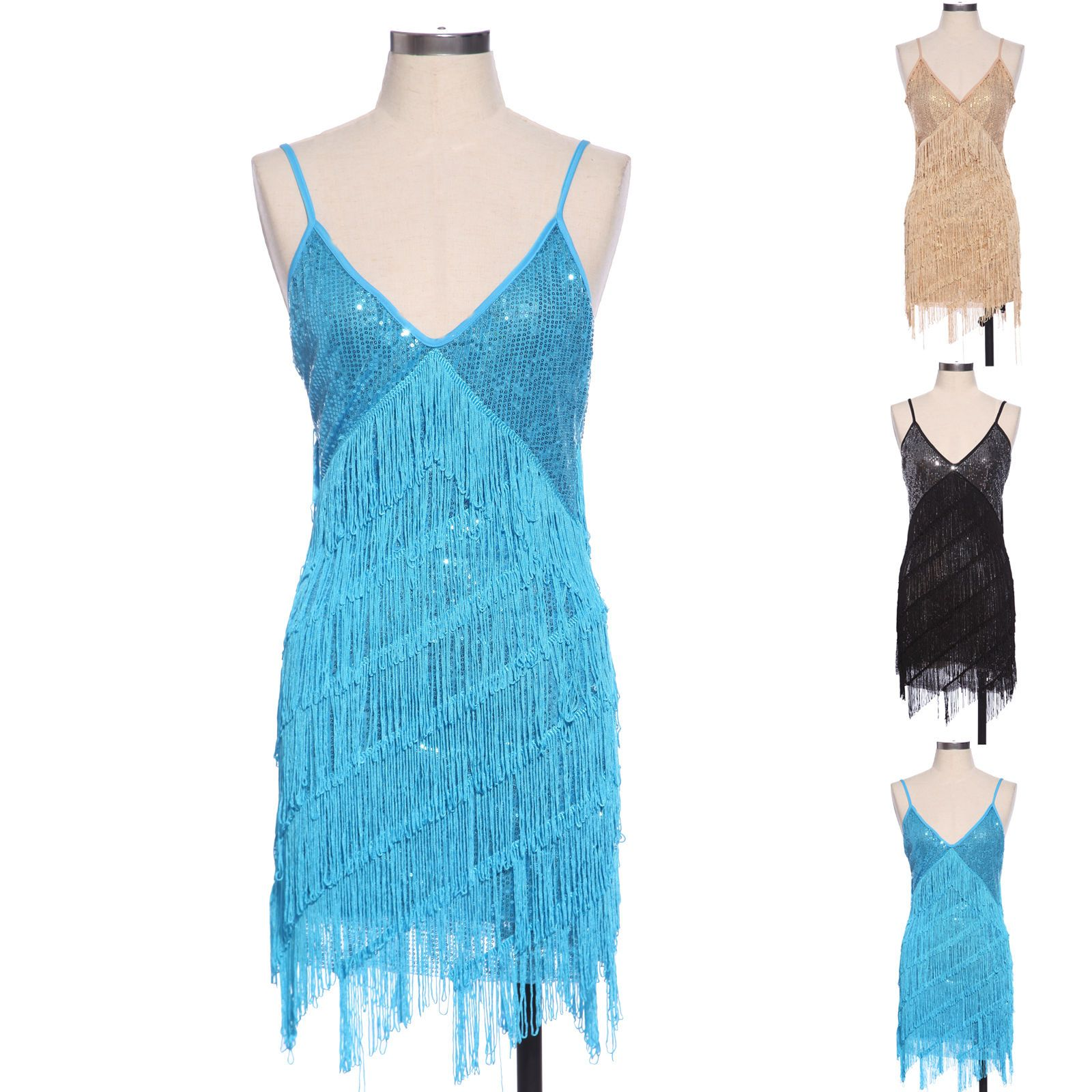 Cool Awesome Retro 20s 30s Flapper Sequin Fringed Costume Cocktail ...