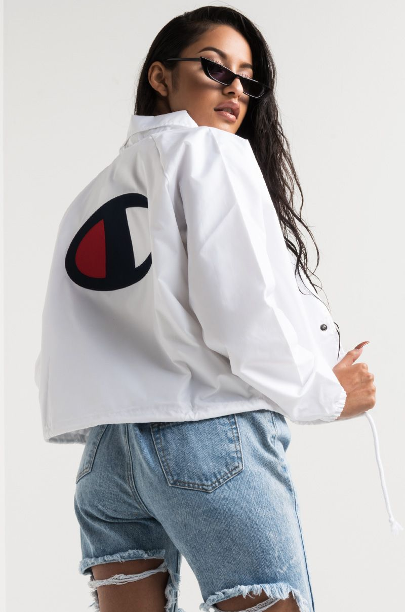 5a6e238b0c7 Champion Women's Cropped Lightweight Water Resistant Back Logo Coach Jacket  in White