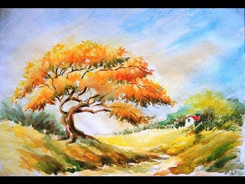 Watercolour landscape painting tutorial featuring view towards ...