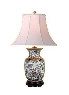Beautiful Oriental Chinese Porcelain Rose Canton Vase Table Lamp