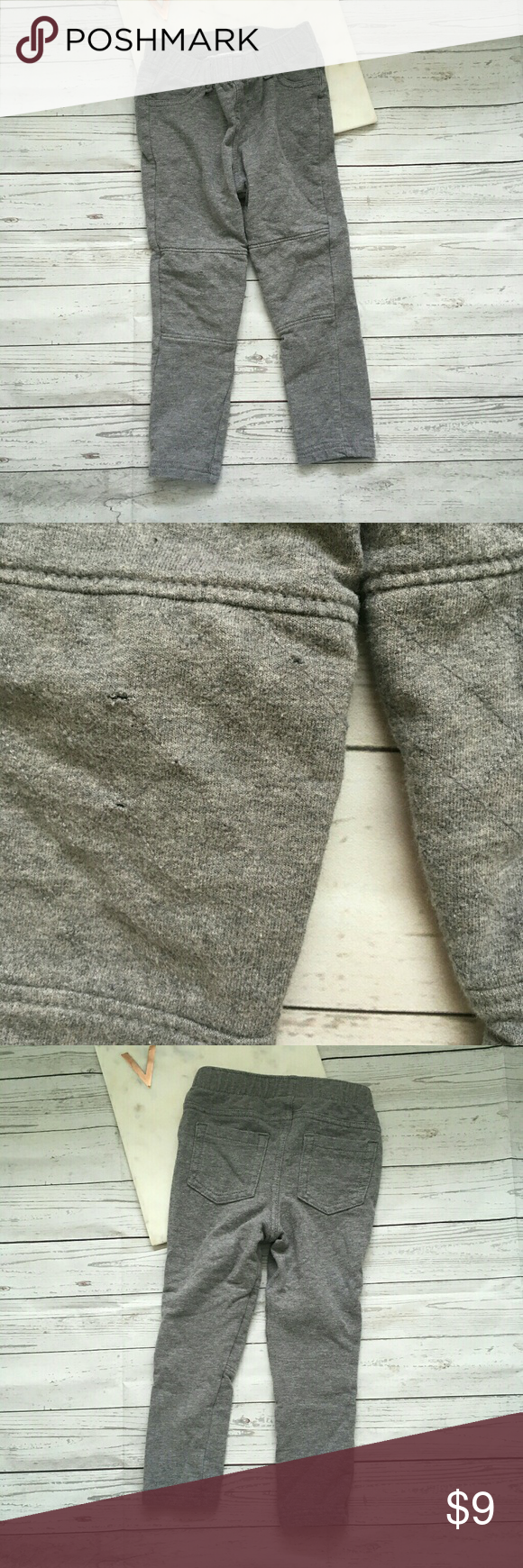 cat & jack boys 3t grey skinny pants knee patches gently used there are some small holes in the knees still have a lot of wear  waist = 8.5 inches inseam = 14 inches cat & jack Bottoms Casual