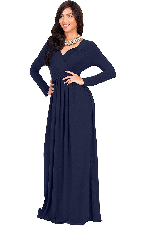 Elegant maxi dresses for weddings  KOH KOH Womens Long Sleeve Empire Cocktail Elegant Evening Versatile