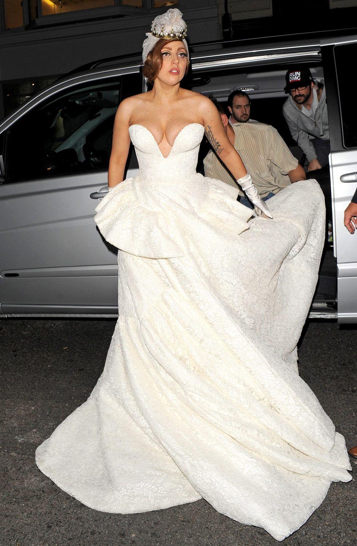 PIC: Lady Gaga Steps Out in Wedding Dress, Flashes Sideboob
