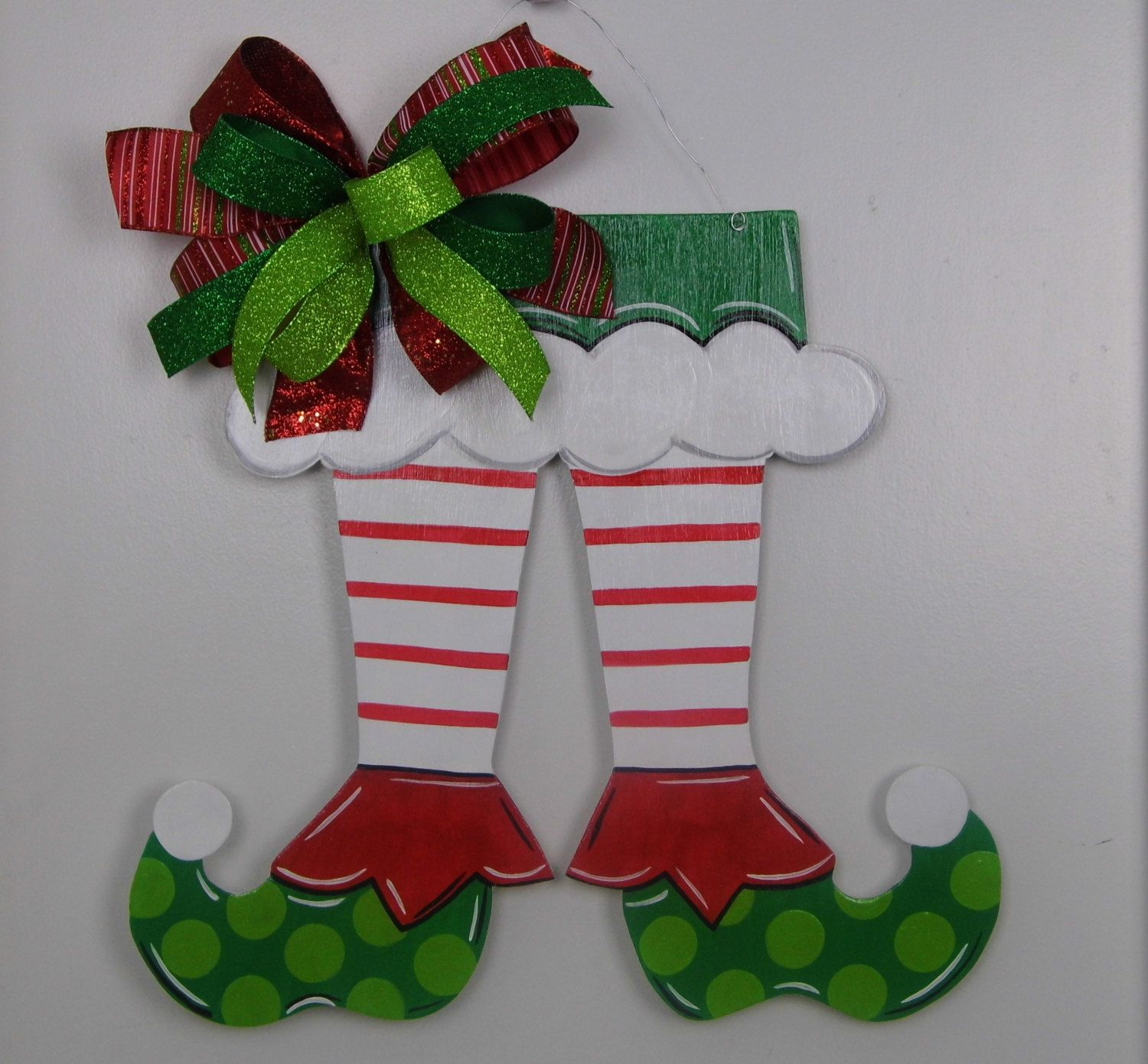 Elf Shoe Door Hanger, Christmas Door Hanger, Elf Door Hanger, Hand ...