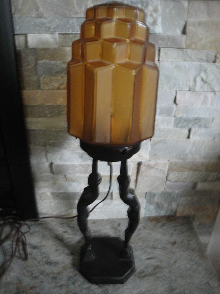 Original Lamps frankart art deco double nude skyscraper shade lamp 1927
