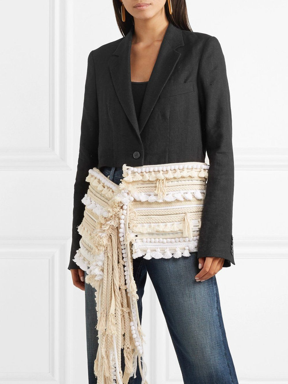 ANAELE Ropetrimmed linen Blazer Linen blazer, Fashion
