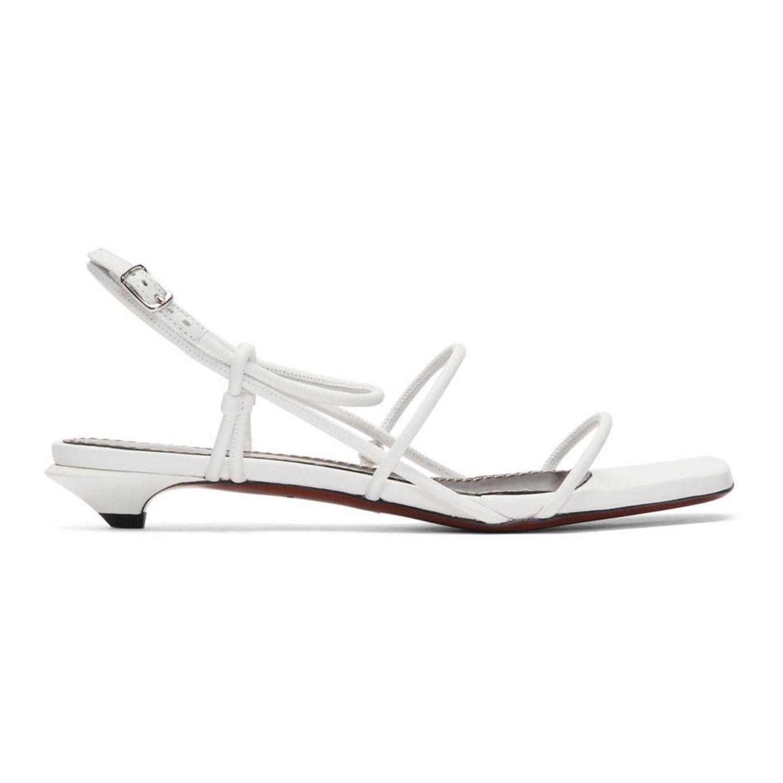 Proenza Schouler White Strappy Low Kitten Heel Sandals Ssense In 2020 Kitten Heel Sandals Sandals Heels Kitten Heels