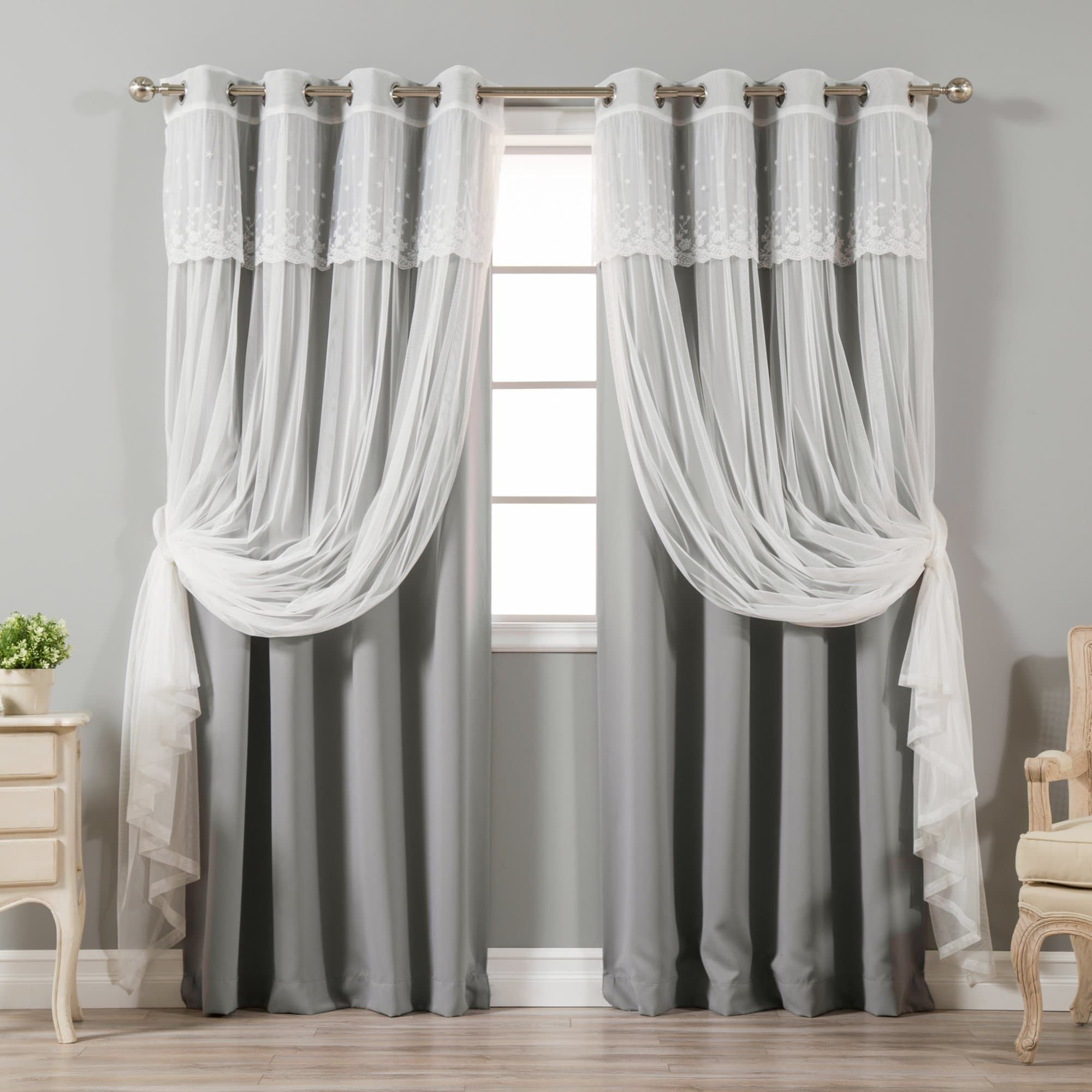 Aurora home mix match tulle sheer with attached valance - Rideaux salle a manger salon ...