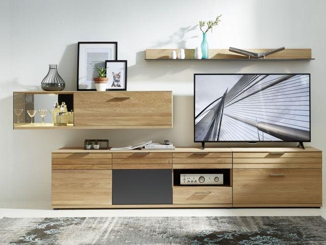 AMBAR II Wohnwand Wildeiche Bianco/Graphit Wohnzimmer Pinterest - wohnzimmer schwarz weiss holz