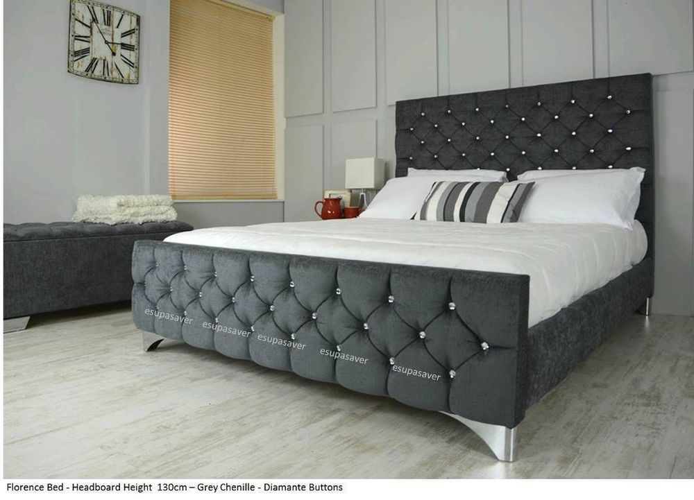Details About Florence Bed Frame Upholstered In Chenille Or