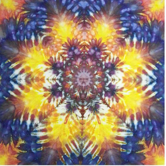 Tie dye tapestry wall hanging yellow orange blue | Tie dye tapestry ...