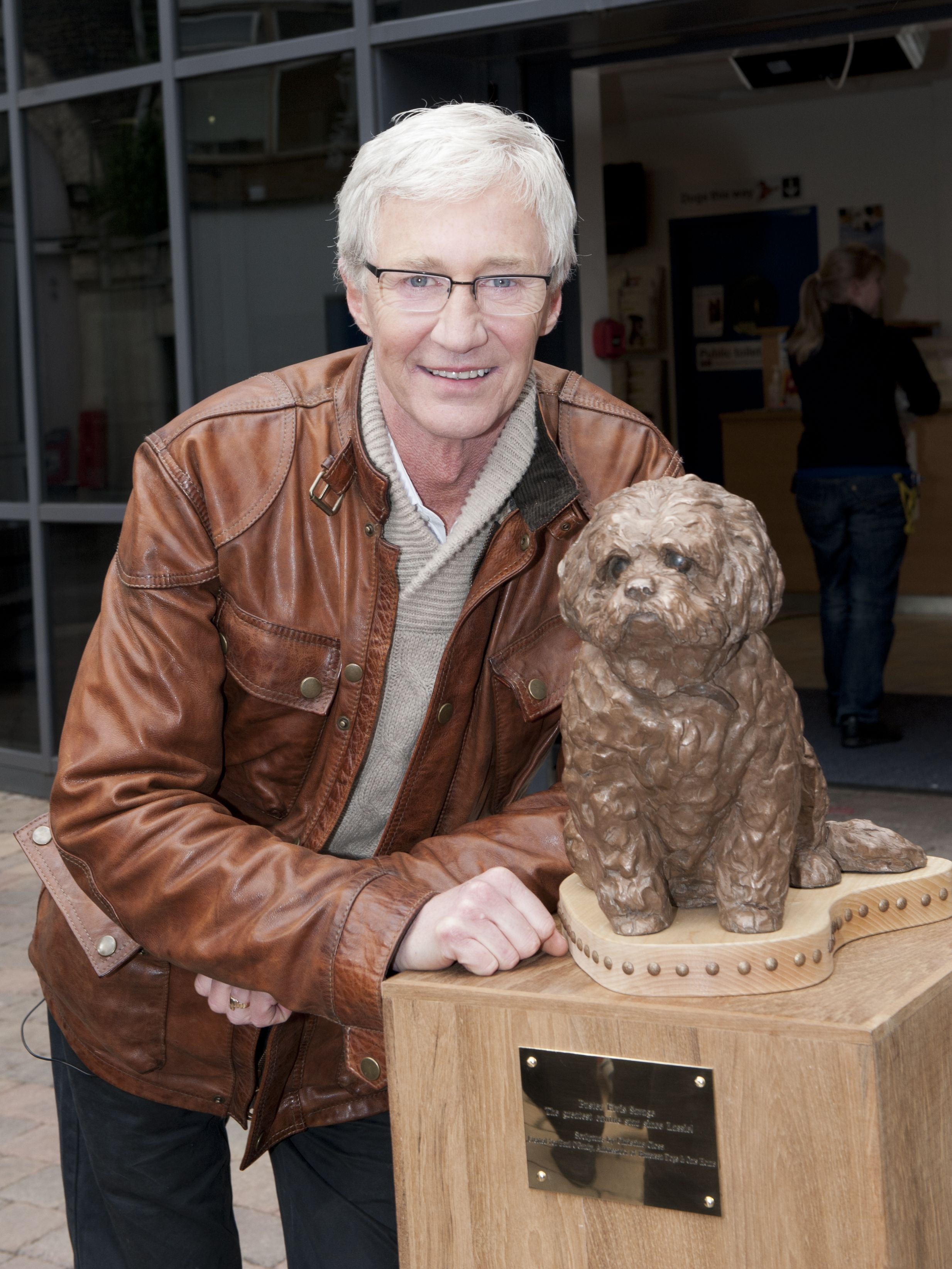 Paul With His Statue Of Buster Which Is On Display At Our London Site Http Www Battersea Org Uk About Us Paul O Gradys For T Battersea Dogs Dog Show Dog Cat