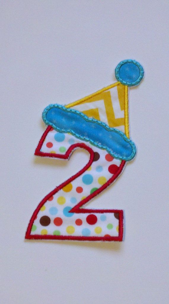 birthday number with hat iron-on applique/ birthday by ewebb131