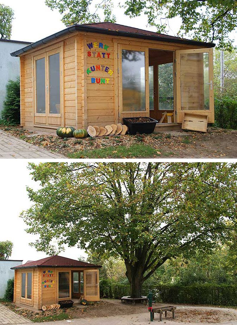 Ein Gartenhaus Wird Zur Kreativ Werkstatt Fur Kinder Gartenhaus Teehaus Garten