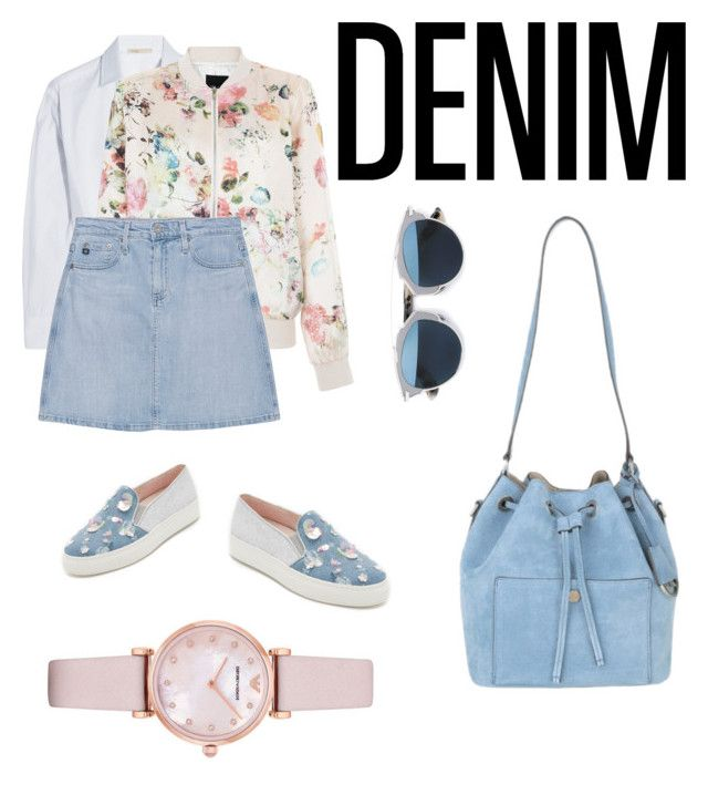 """girlydenim"" by beckmannlilli ❤ liked on Polyvore featuring Minna Parikka, Maje, New Look, AG Adriano Goldschmied, Christian Dior, Michael Kors, Emporio Armani and Denimondenim"