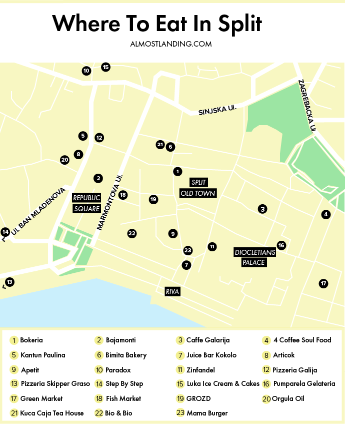 Where To Eat In Split Croatia Cafes Restaurants Desserts Markets In 2020 Split Croatia Croatia Beach Croatia Map
